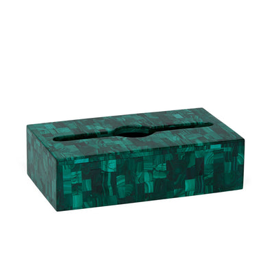 3350-MALA Sherle Wagner International Large Oblong Tissue Box Cover in Malachite
