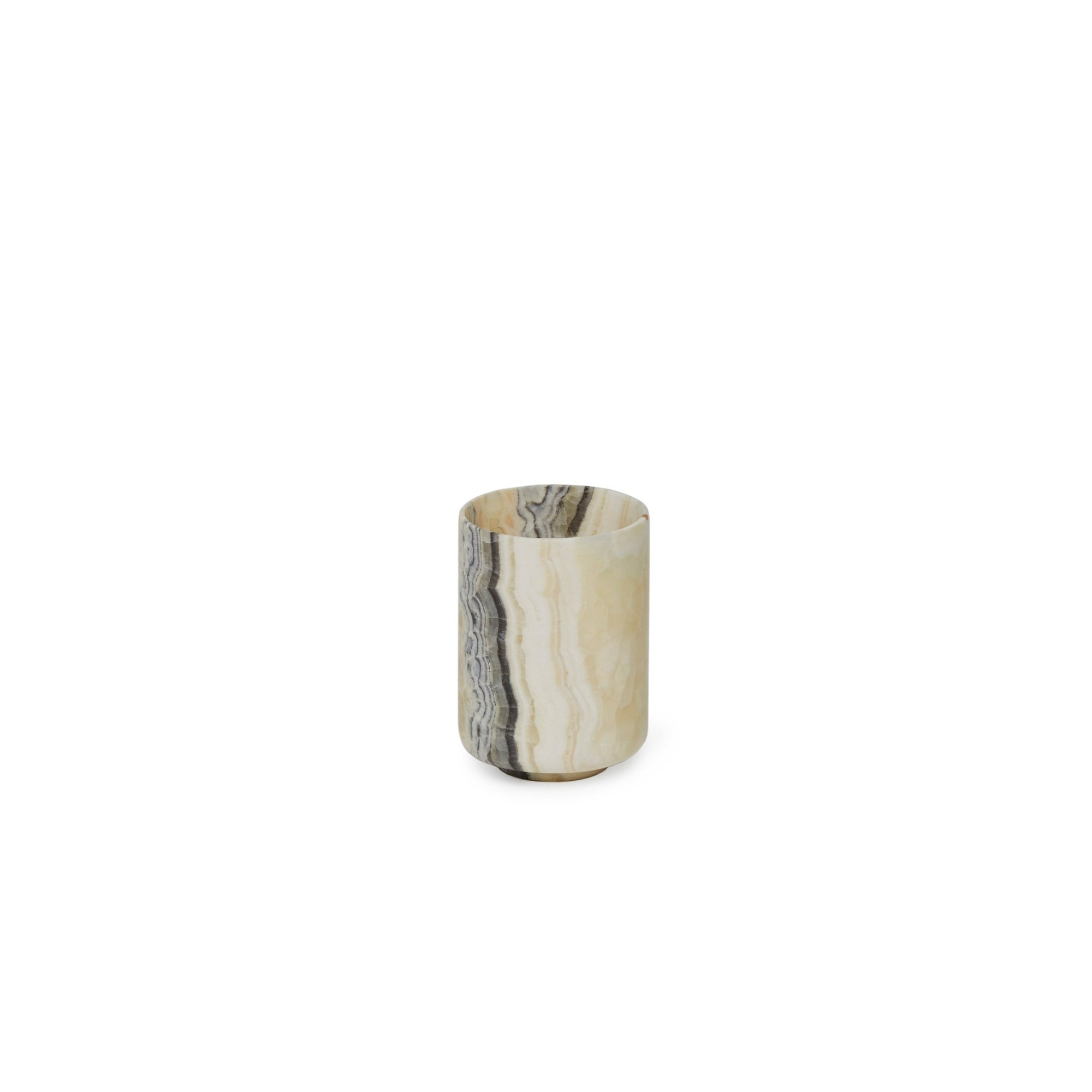 3351-BROX Sherle Wagner International Stone Tumbler in Brown Onyx