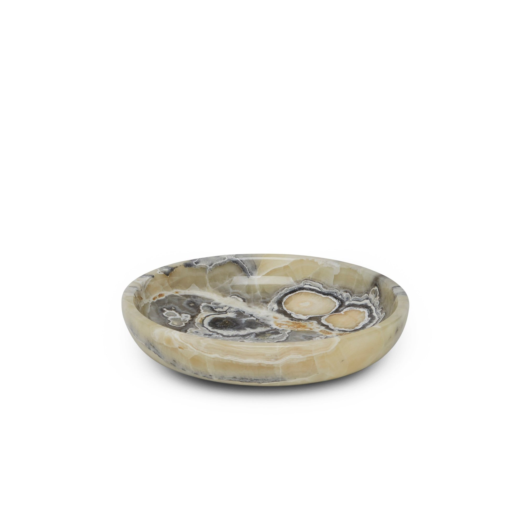 3353-GREYOX Sherle Wagner International Stone Round Soap Dish in Grey Onyx