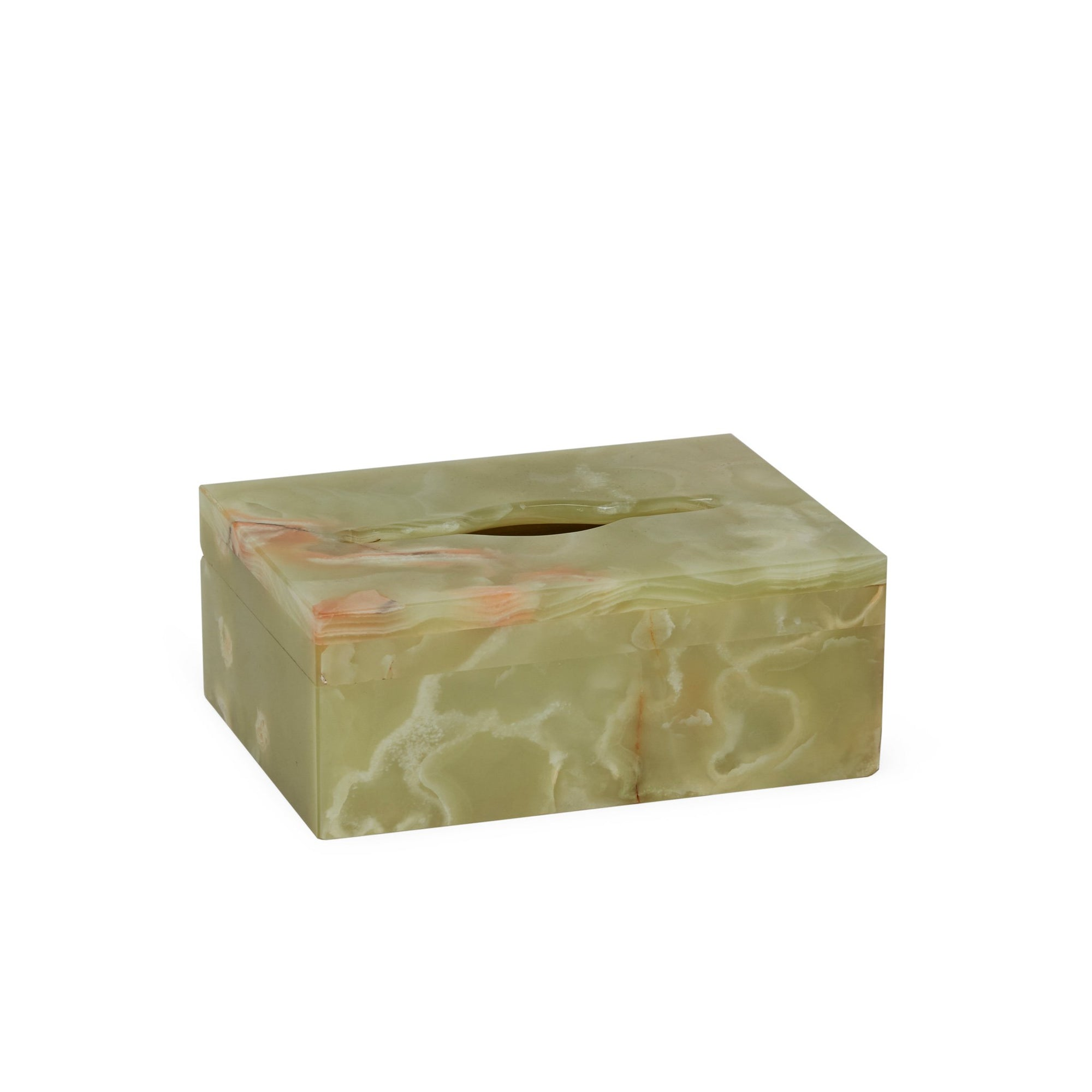 3354-GROX Sherle Wagner International Small Oblong Tissue Box Cover in Green Onyx
