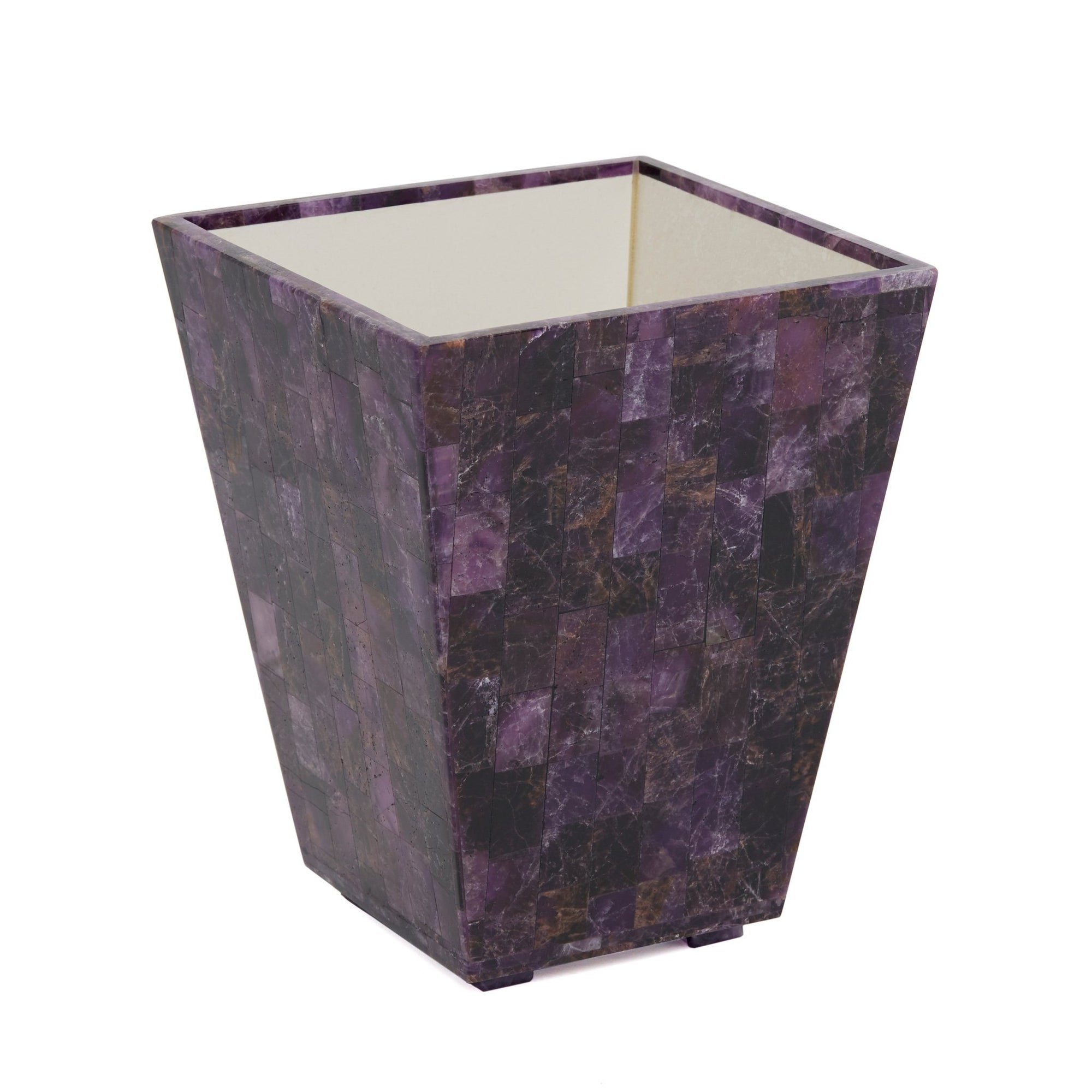 3359-AMET Sherle Wagner International Knurled Waste Bin with Rose Quartz insert in Gold Plate metal finish
