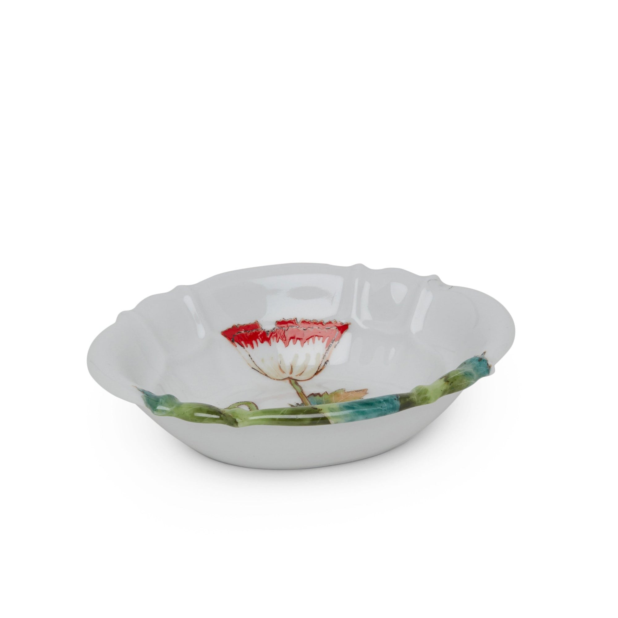 3362-69PP-WH Sherle Wagner International Ceramic Soap Dish with Poppies on White