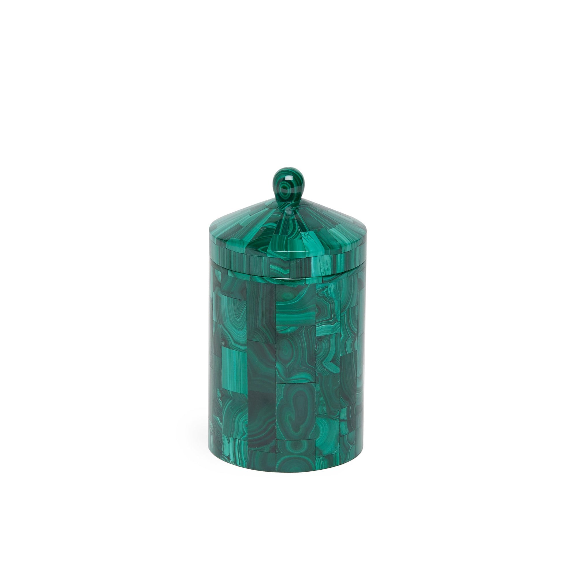 3364-MALA Sherle Wagner International Stone Covered Jar in Malachite