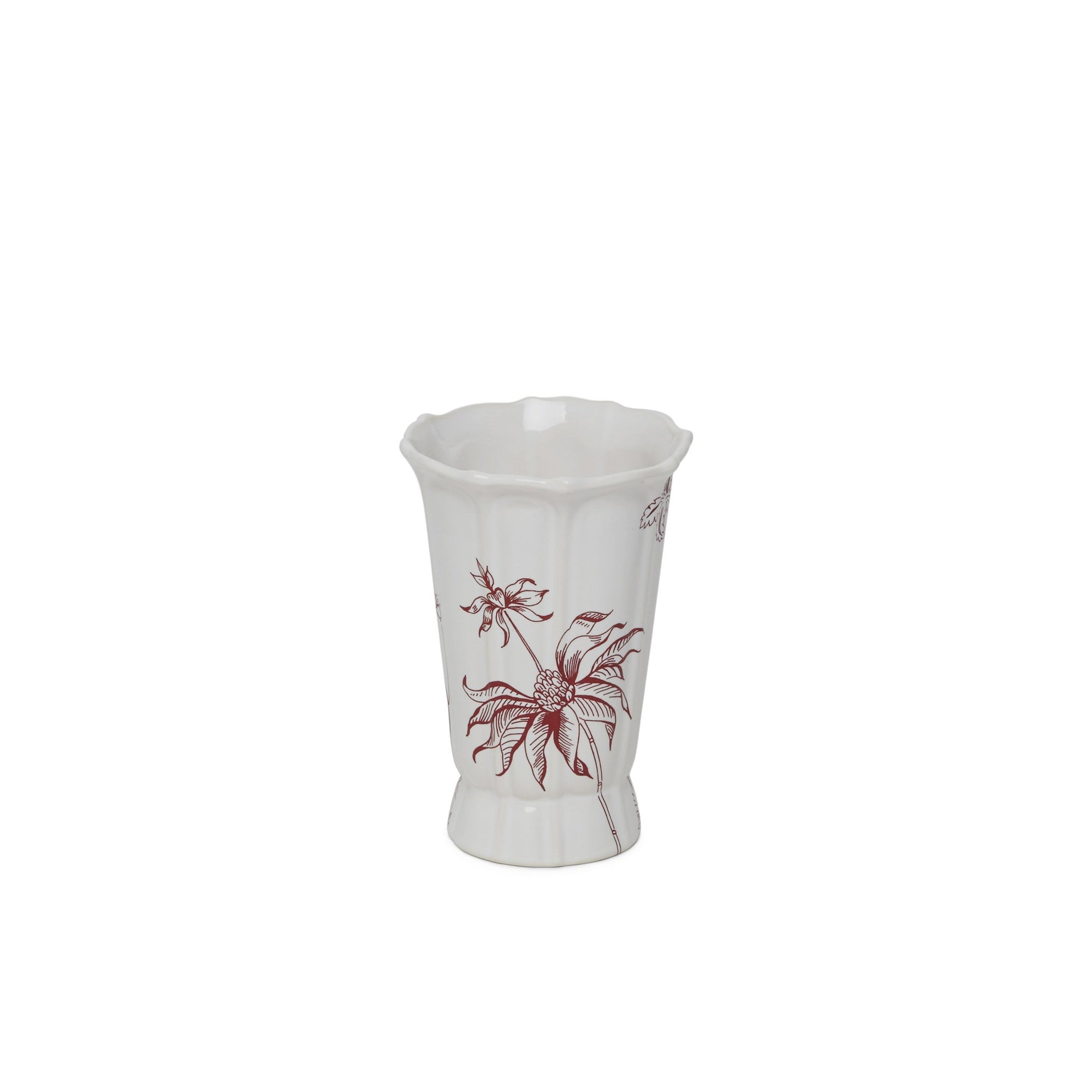 3367-OE3-89GA-WH Sherle Wagner International Ceramic Tumbler with Le Jardin Garnet on White