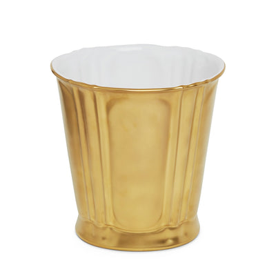 3368-14GP-WH Sherle Wagner International Ceramic Waste Bin with Burnished Gold finish