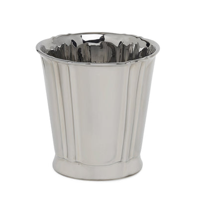 3368-17HP Sherle Wagner International Ceramic Waste Bin with Highly Polished Platinum finish
