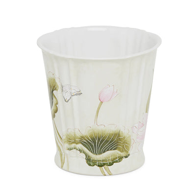 3368-20GR-WH Sherle Wagner International Ceramic Waste Bin with Lotus Green on White finish