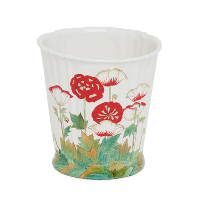 3368-69PP-WH Sherle Wagner International Ceramic Waste Bin with Poppies on White finish