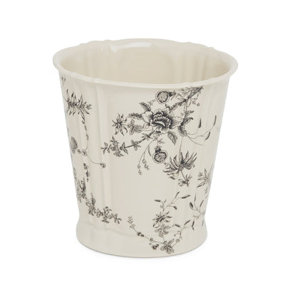 3368-89CH-SD Sherle Wagner International Ceramic Waste Bin with Le Jardin Charcoal on Sand finish