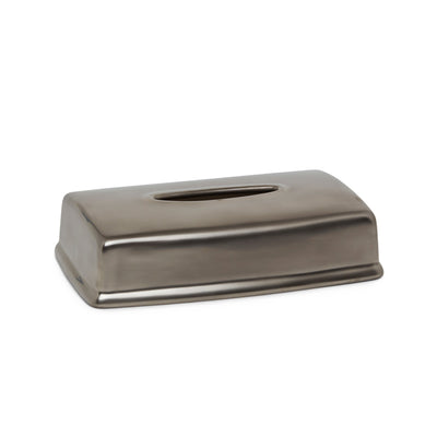 3400-15PL Sherle Wagner International Ceramic Elongated Tissue Box Cover with Burnished Platinum 15PL