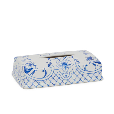 3400-66DL-WH Sherle Wagner International Ceramic Elongated Tissue Box Cover with Delft on White