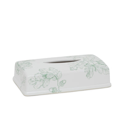 3400-99SG-WH Sherle Wagner International Ceramic Elongated Tissue Box Cover with Acorn & Oakleaf Sage on White