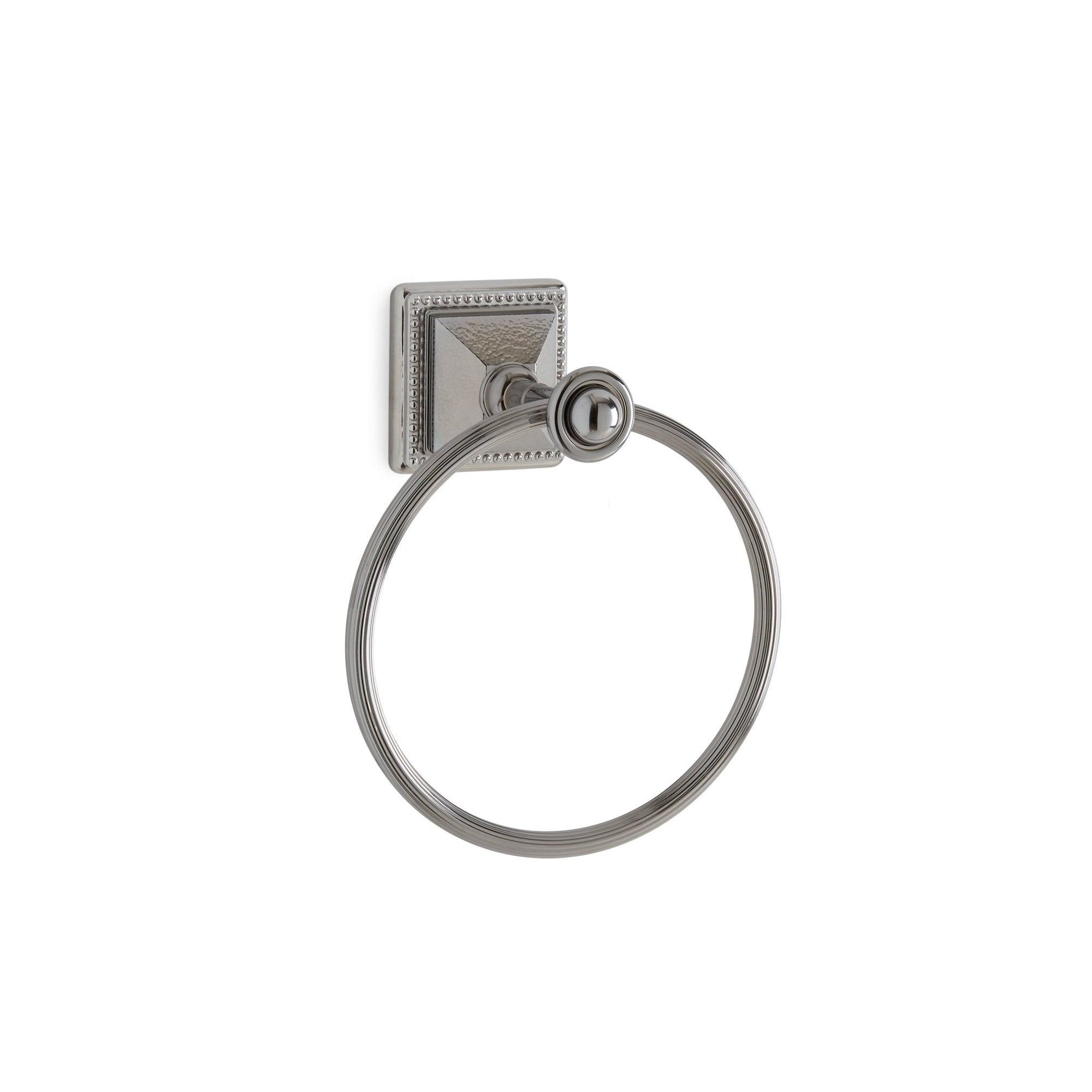 3401-HMRD-CP Sherle Wagner International Hammered Pyramid Towel Ring in Polished Chrome metal finish