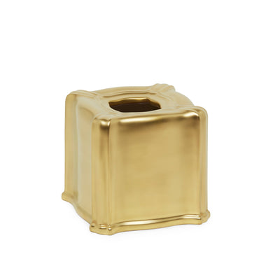 3413B-14GP Sherle Wagner International Ceramic Elongated Tissue Box Cover with Burnished Gold 14GP