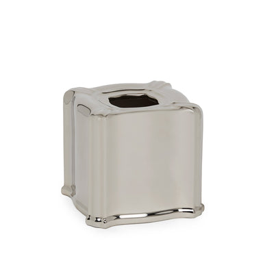 3413B-17HP Sherle Wagner International Ceramic Elongated Tissue Box Cover with Highly Polished Platinum