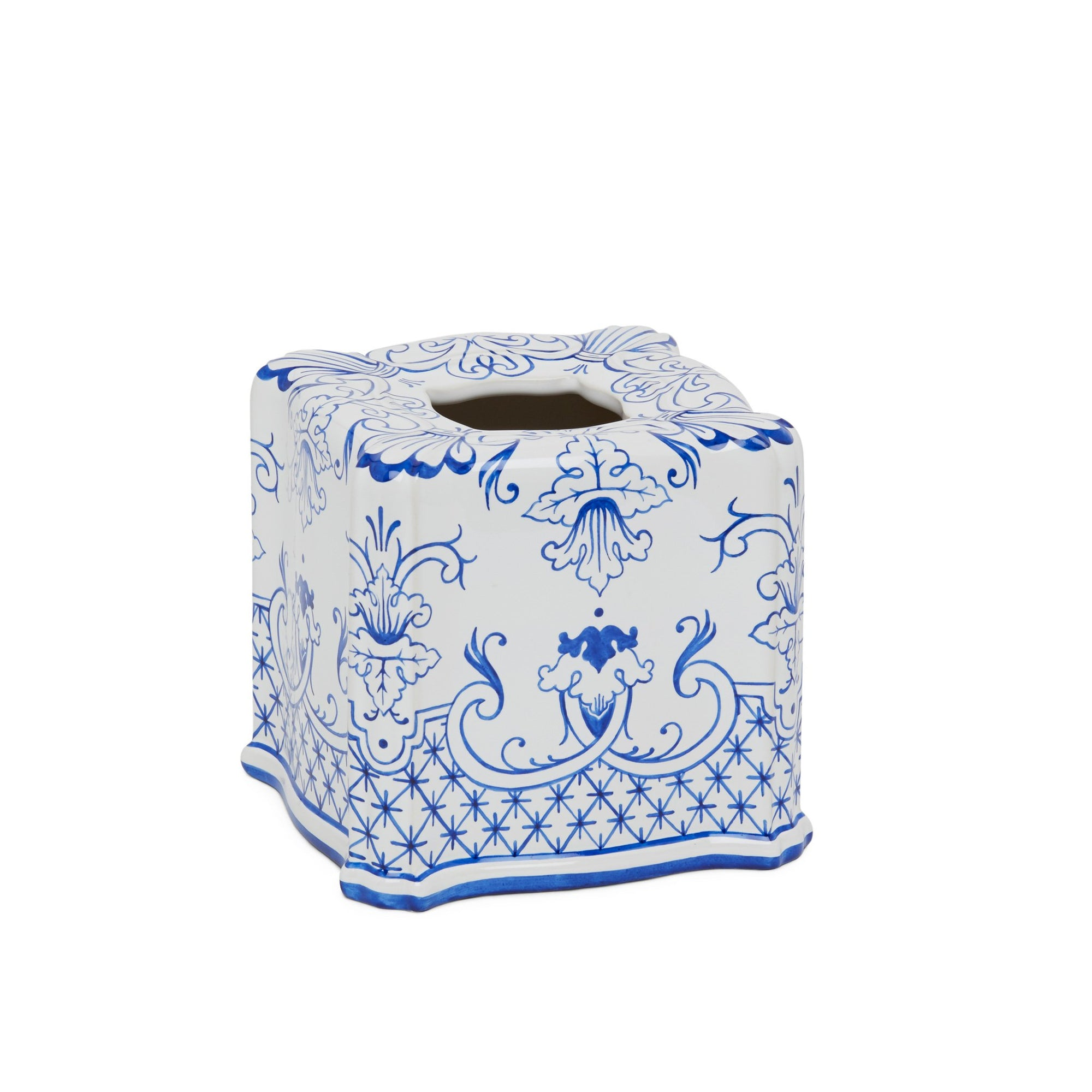3413B-66DL-WH Sherle Wagner International Ceramic Elongated Tissue Box Cover with Delft on White