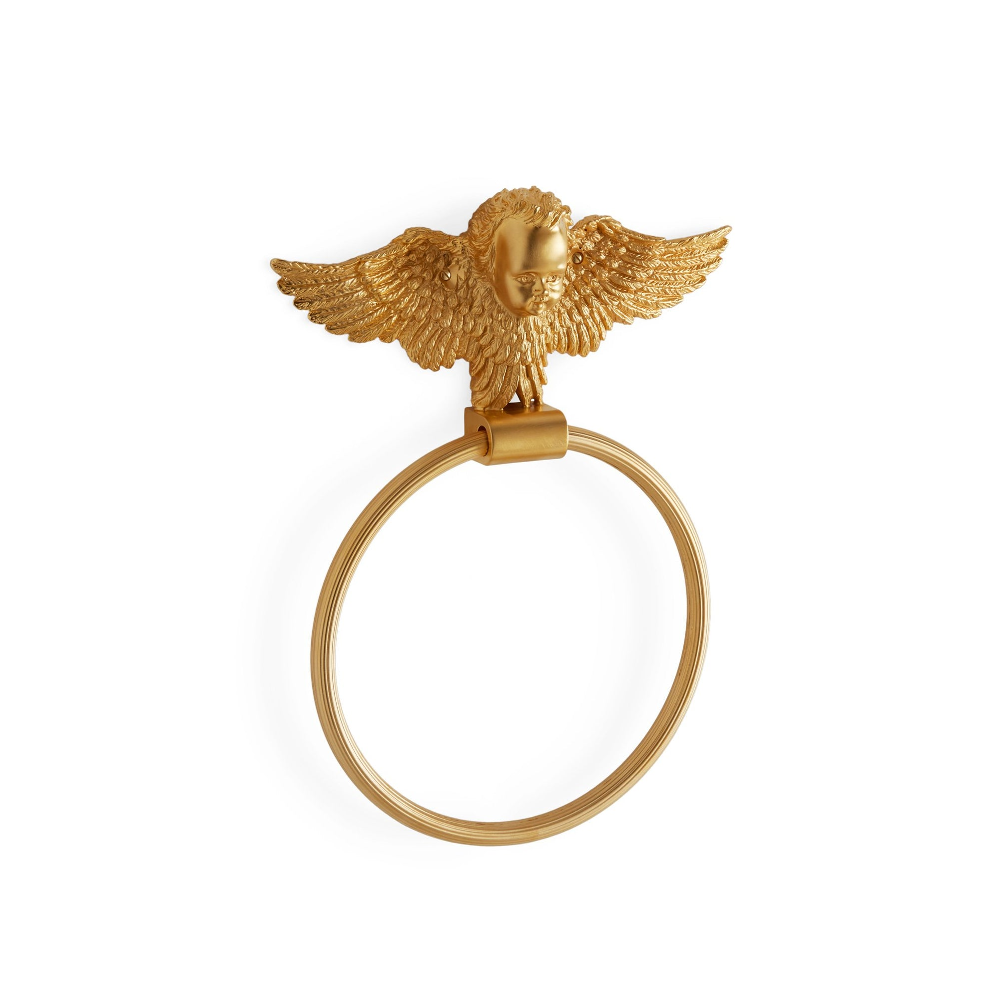 3420-GP Sherle Wagner International Cherub Towel Ring in Gold Plate metal finish