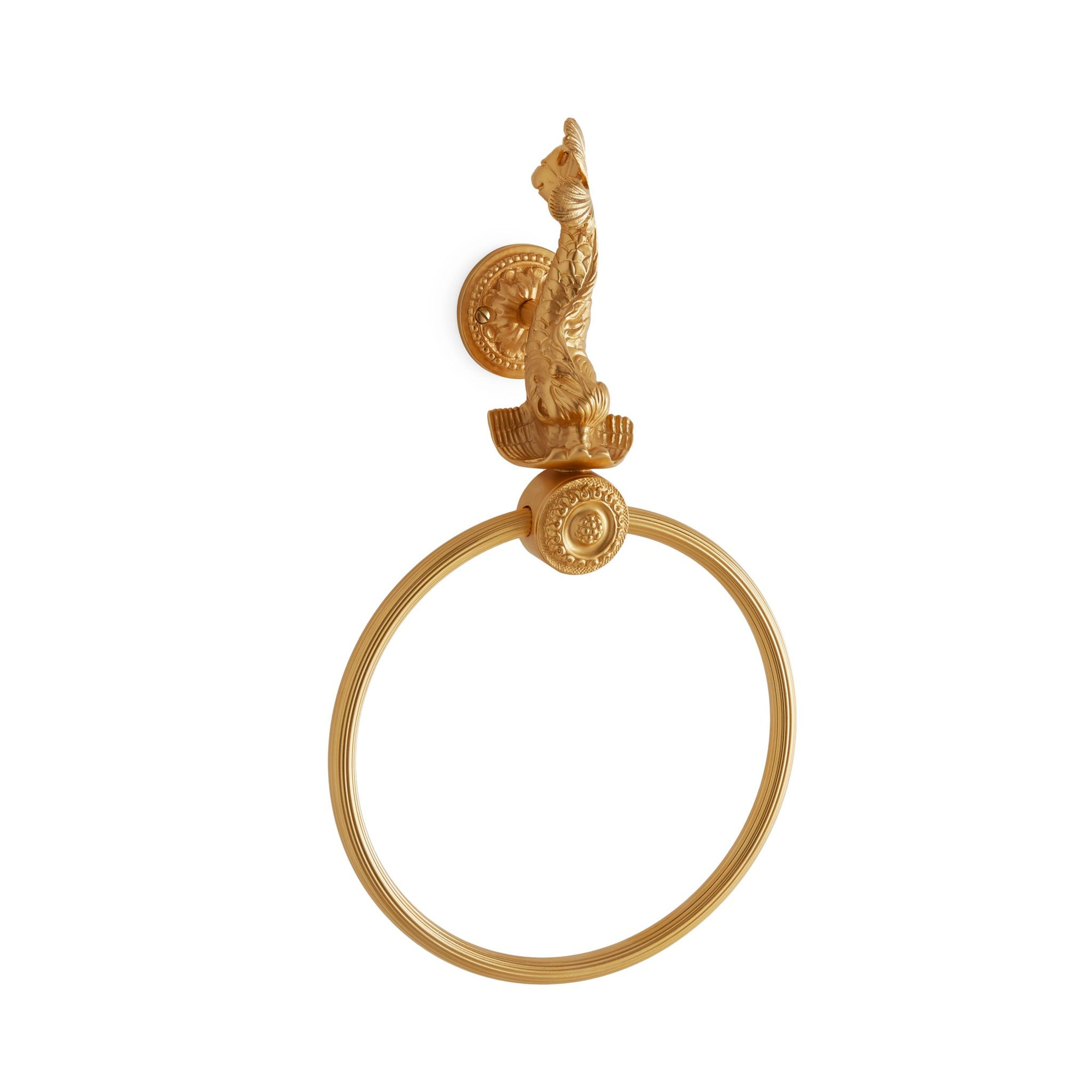 3423-GP Sherle Wagner International Dolphin Towel Ring in Gold Plate metal finish
