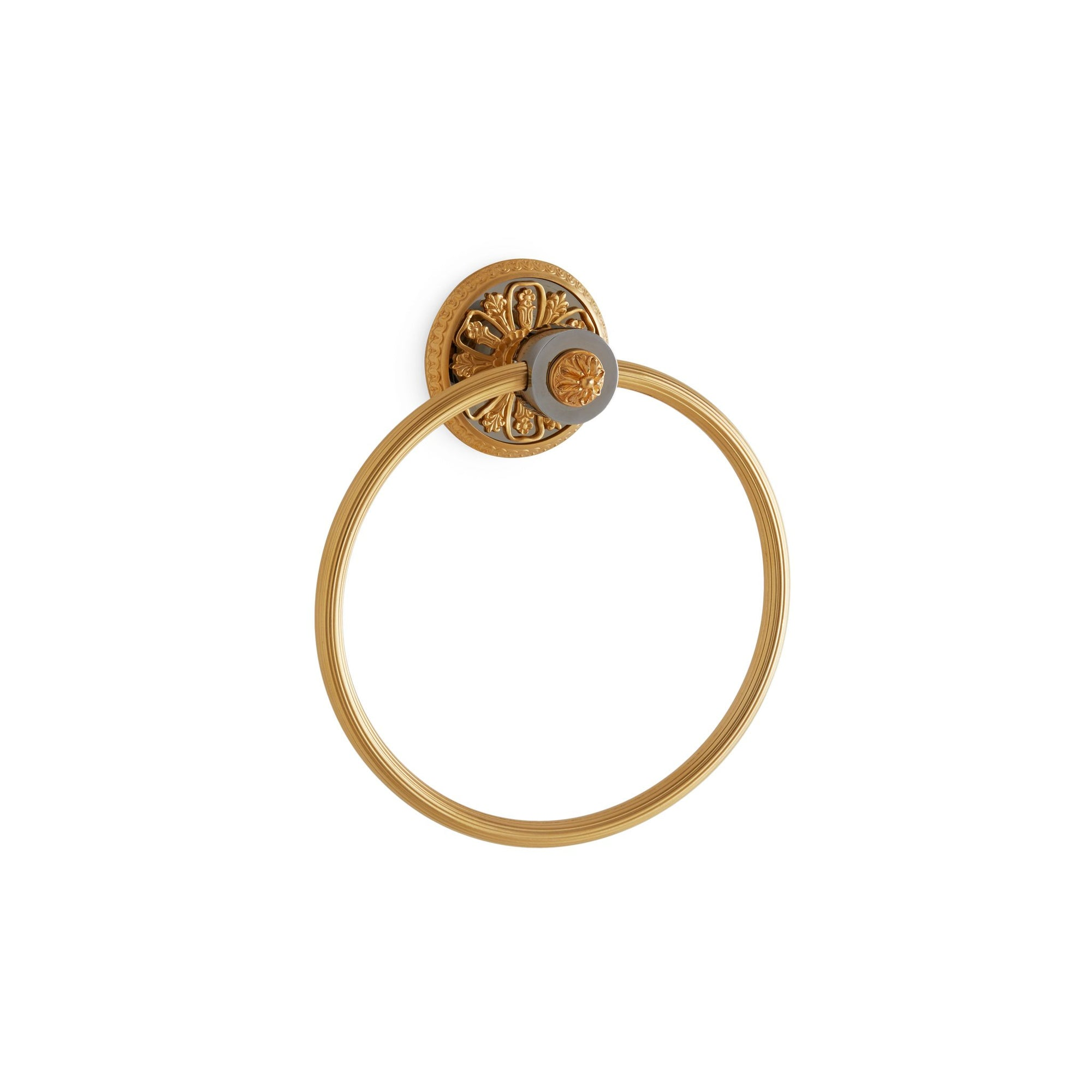 3425-GP/CP Sherle Wagner International Filigree Towel Ring in Gold Plate and Polished Chrome metal finish