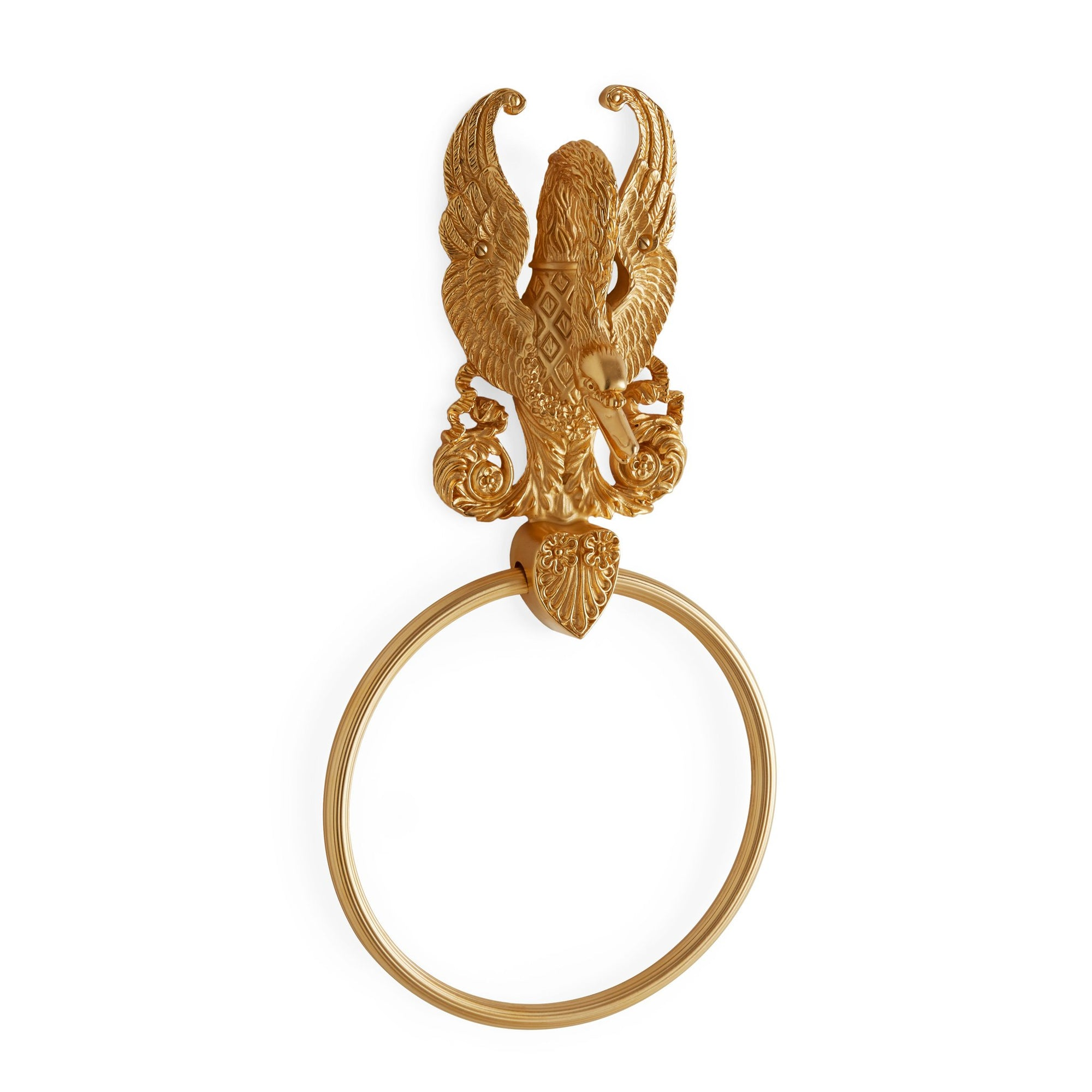 3426-GP Sherle Wagner International Imperial Swan Towel Ring in Gold Plate metal finish
