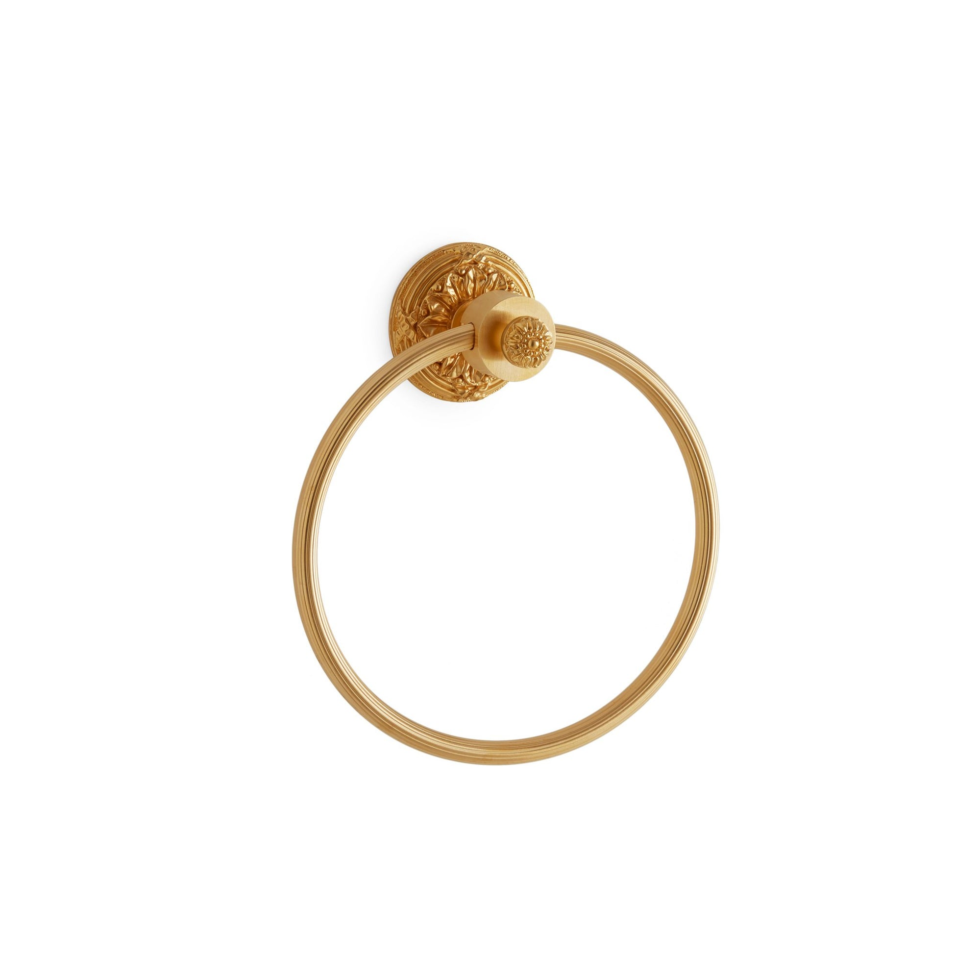 3434-GP Sherle Wagner International Ribbon & Reed Towel Ring in Gold Plate metal finish