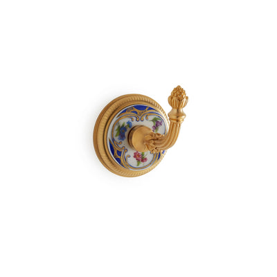 3440-61BL-WH-GP Sherle Wagner International Knurled Hook with Floral Chinoiserie Blue insert in Gold Plate metal finish