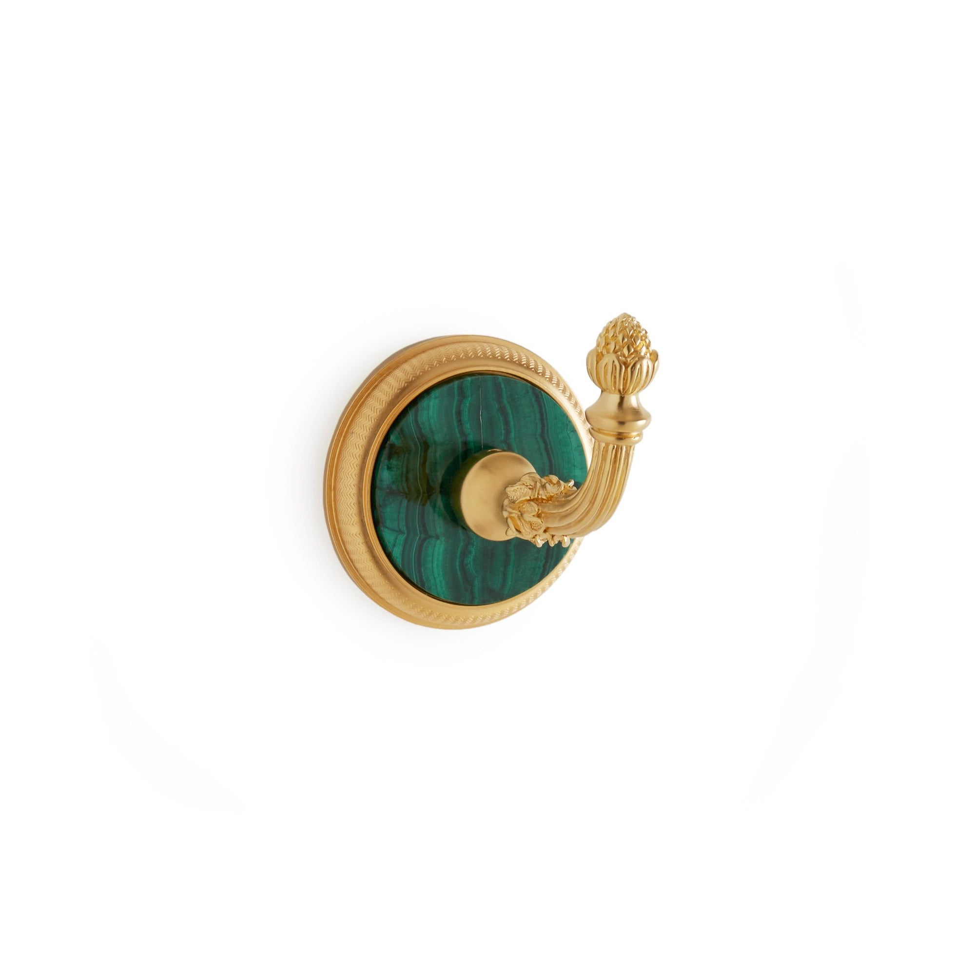 3440-MALA-GP Sherle Wagner International Knurled Hook with Malachite insert in Gold Plate metal finish