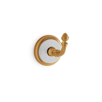 3440-WHT-GP Sherle Wagner International Knurled Hook with White insert in Gold Plate metal finish