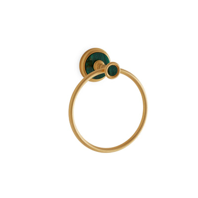 3442-MALA-GP Sherle Wagner International Knurled Towel Ring with Malachite insert in Gold Plate metal finish