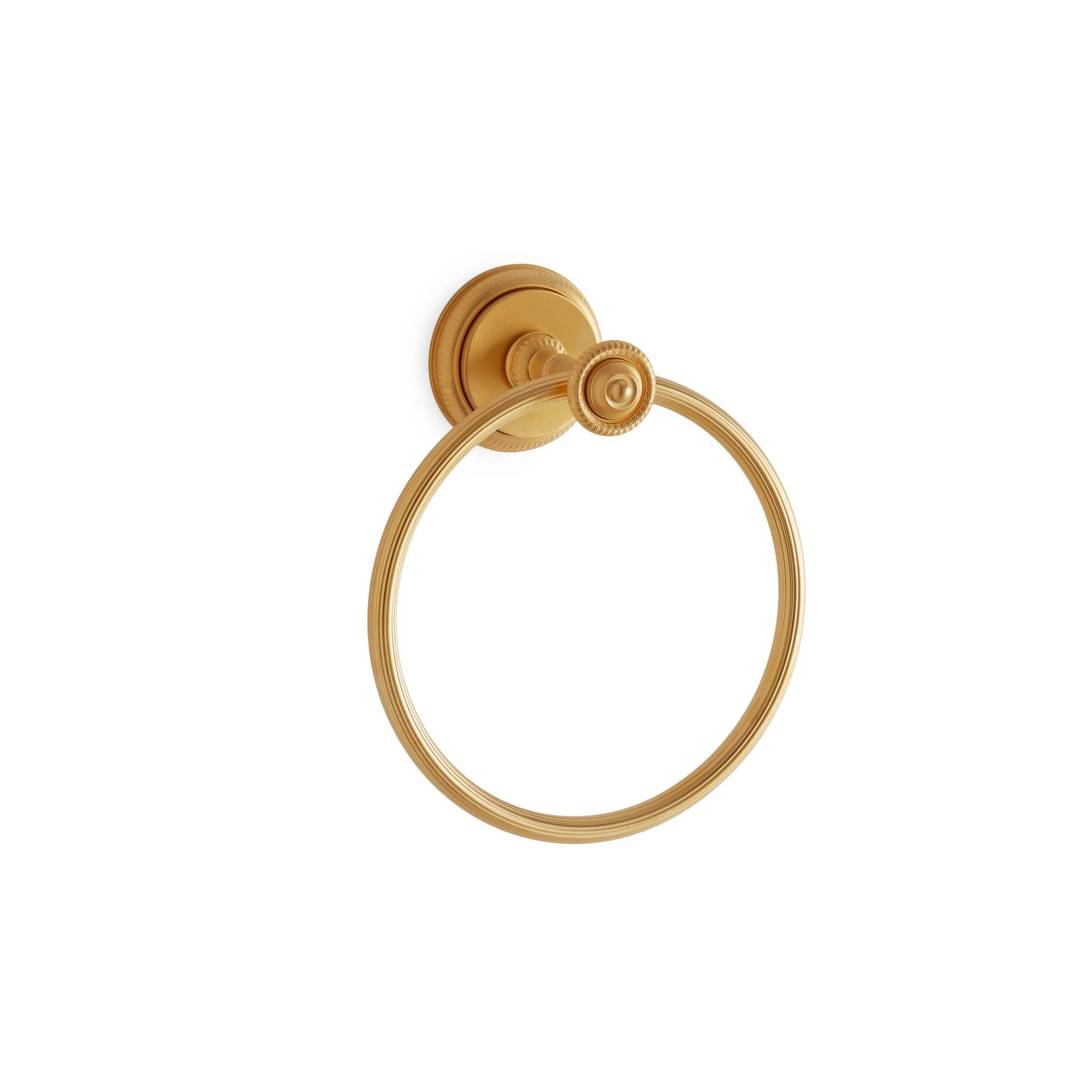 3442-MLIN-GP Sherle Wagner International Knurled Towel Ring with Metal insert in Gold Plate metal finish