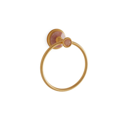 3442-RSQU-GP Sherle Wagner International Knurled Towel Ring with Rose Quartz insert in Gold Plate metal finish