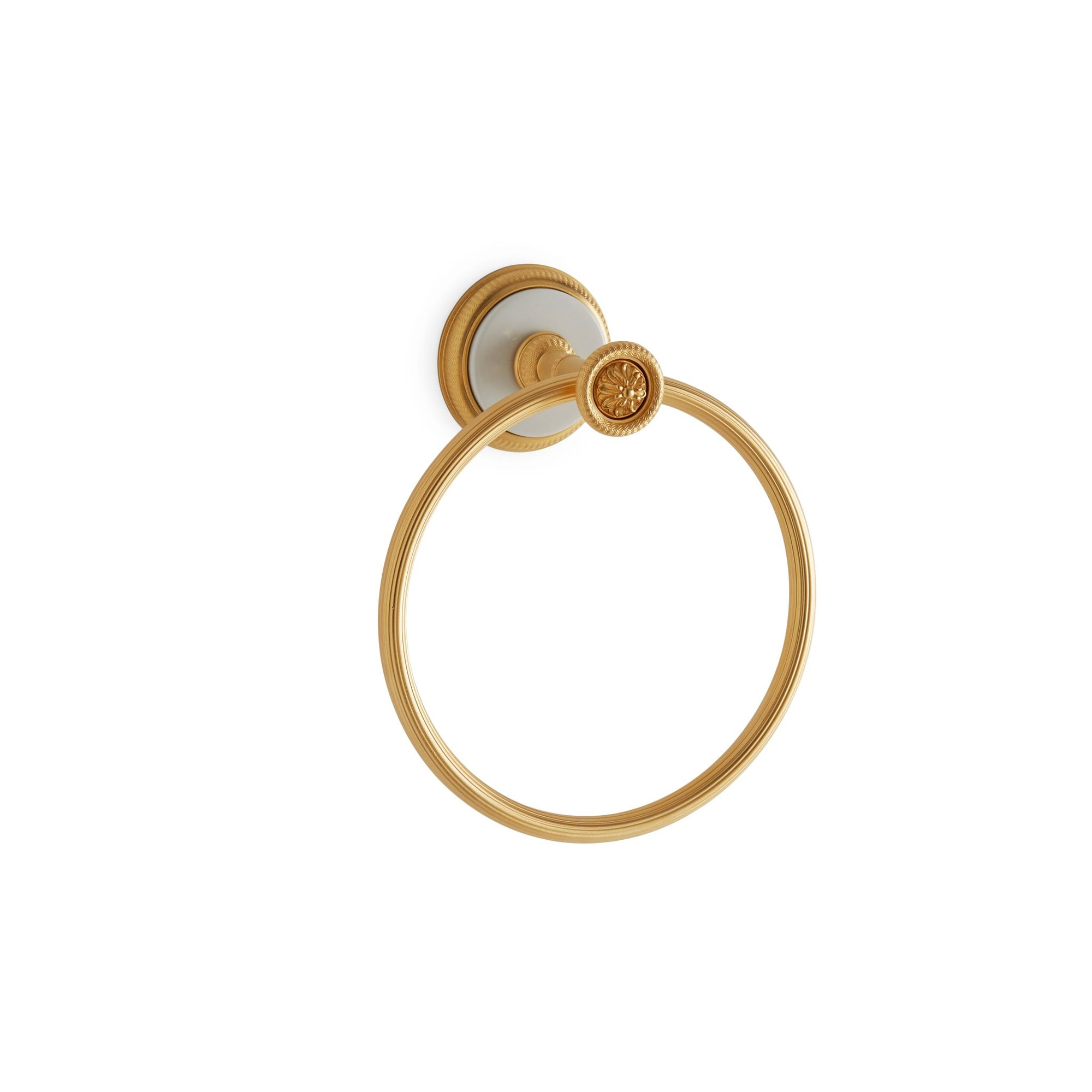 3442-WHT-GP Sherle Wagner International Knurled Towel Ring with White insert in Gold Plate metal finish