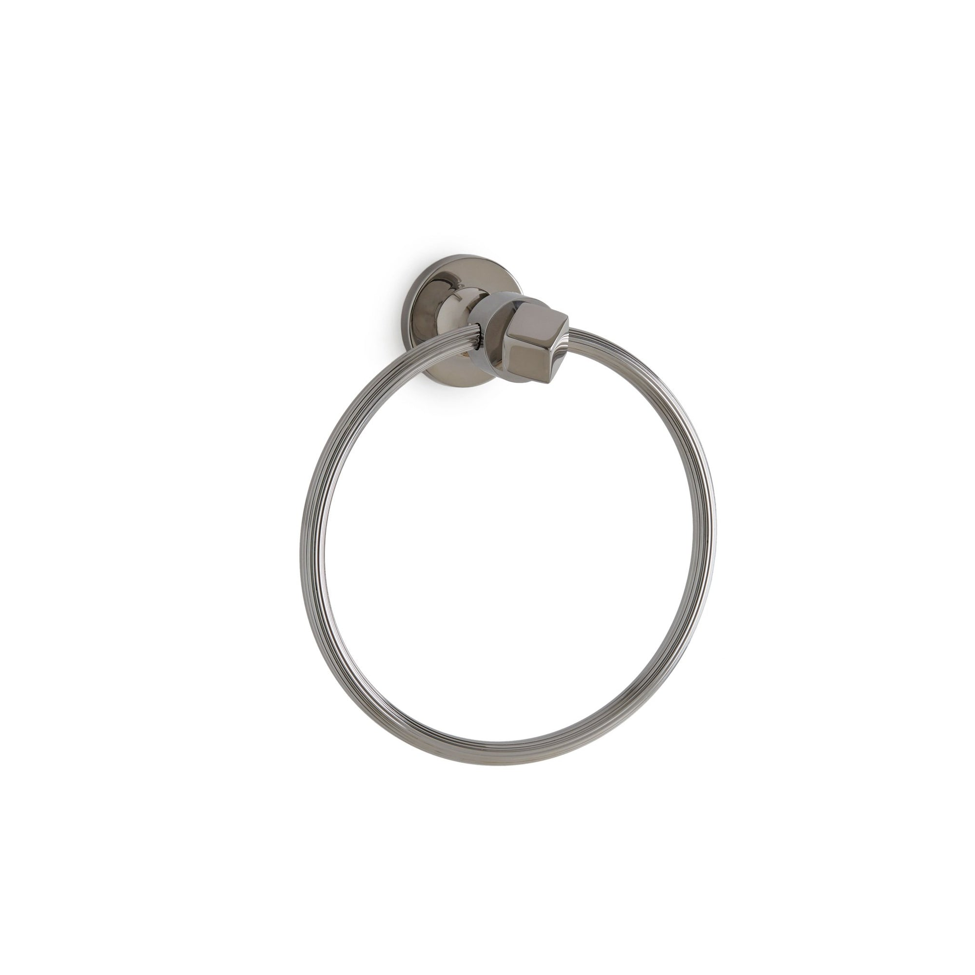 3446-CP Sherle Wagner International Tangent Crystal Fluted Towel Ring in Polished Chrome metal finish