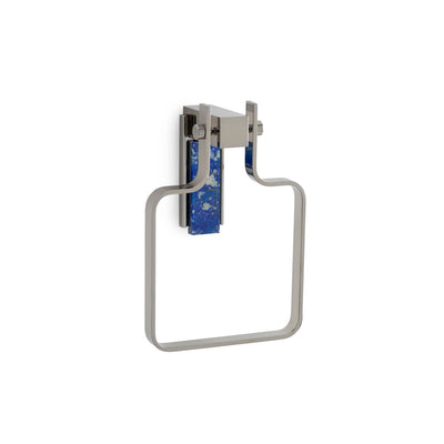 3456-LAPI-CP Sherle Wagner International Apollo Towel Ring with Lapis Lazuli insert in Polished Chrome metal finish