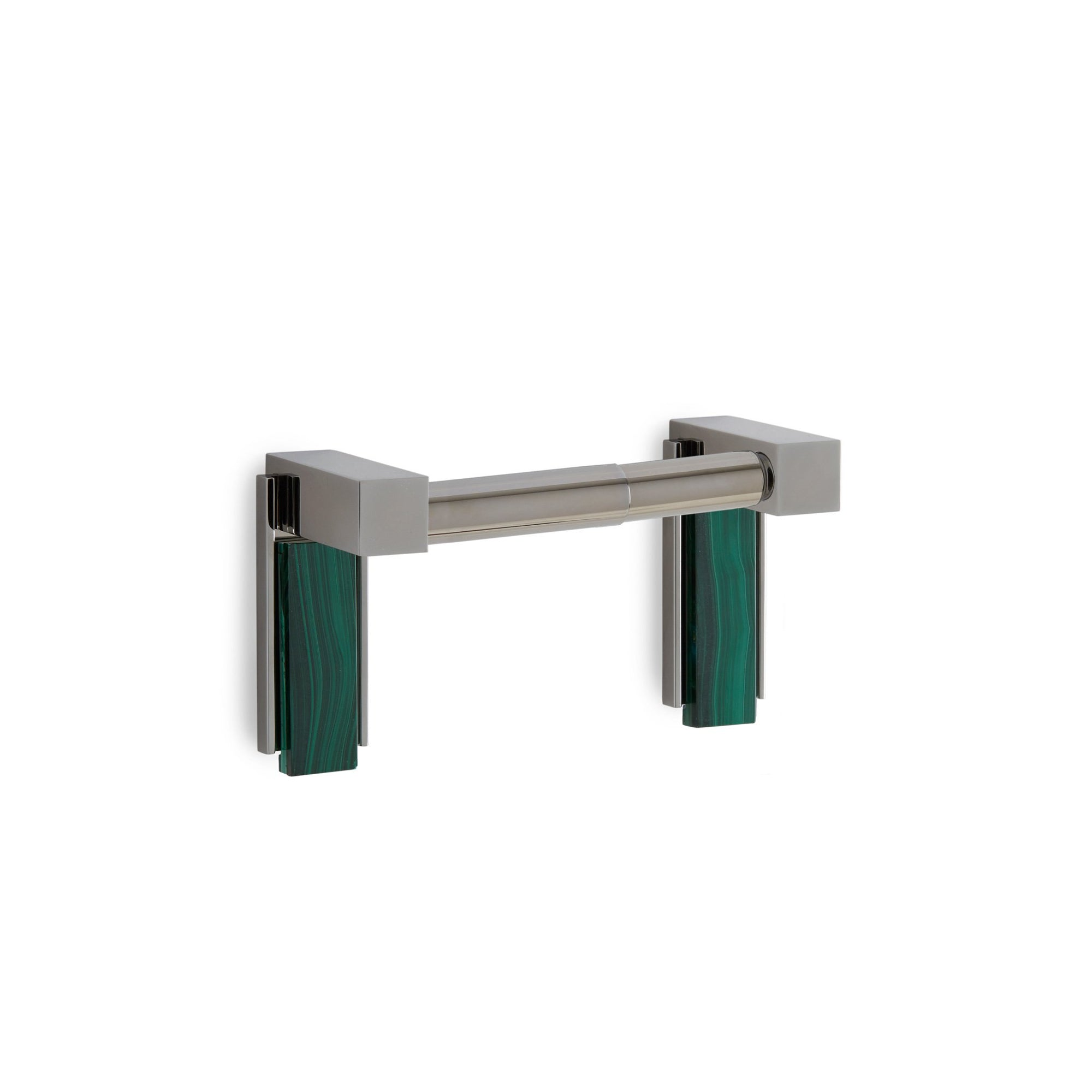3457-DP-MALA-CP Sherle Wagner International Apollo Double Post Paper Holder with Malachite insert in Polished Chrome metal finish