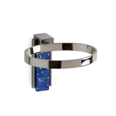 3459-LAPI-CP Sherle Wagner International Apollo Soap Dish Holder with Lapis Lazuli insert in Polished Chrome metal finish