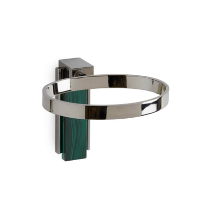 3459-MALA-CP Sherle Wagner International Apollo Soap Dish Holder with Malachite insert in Polished Chrome metal finish
