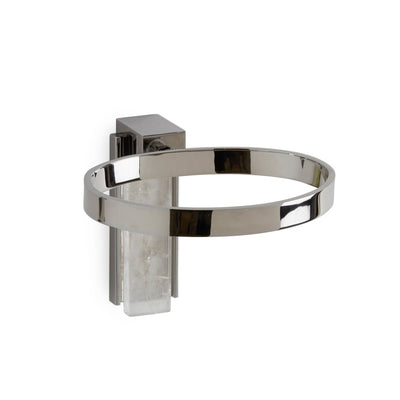3459-RKCR-CP Sherle Wagner International Apollo Soap Dish Holder with Rock Crystal insert in Polished Chrome metal finish