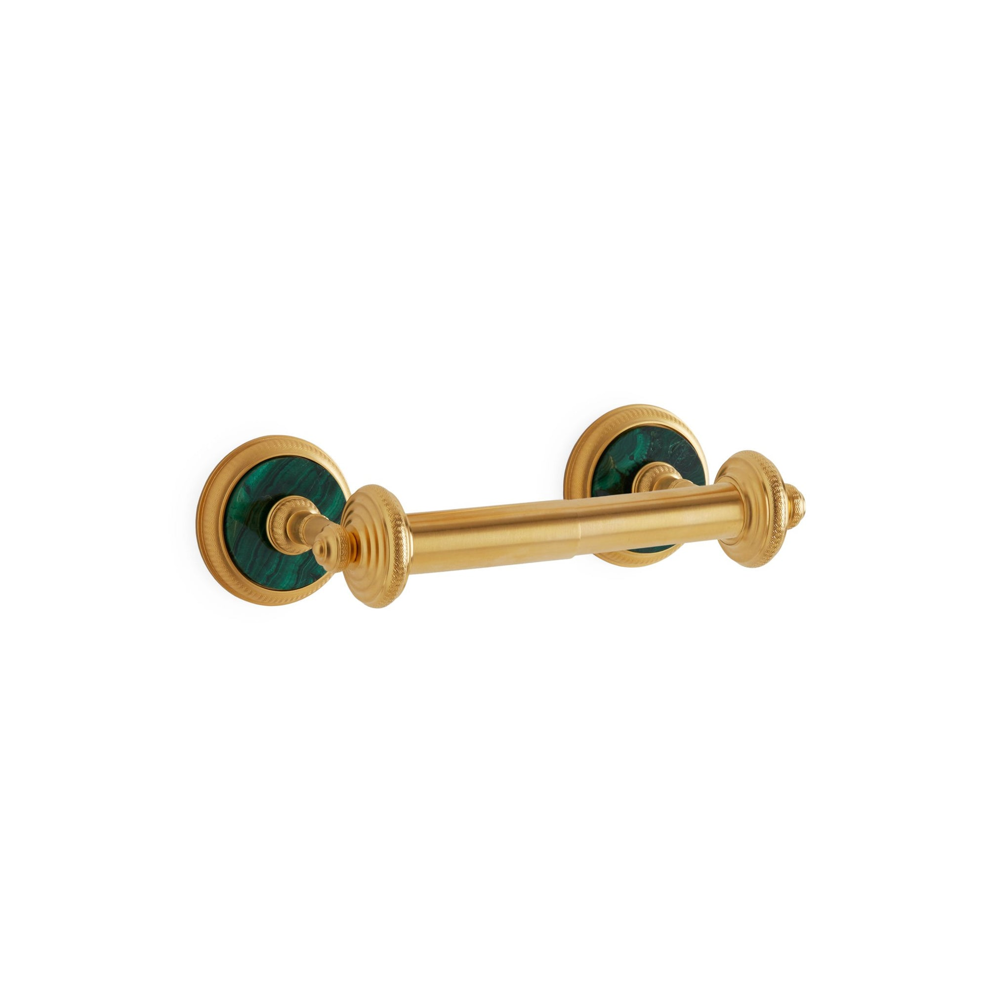 3535-DP-MALA-GP Sherle Wagner International Knurled Double Post Paper Holder with Malachite insert in Gold Plate metal finish