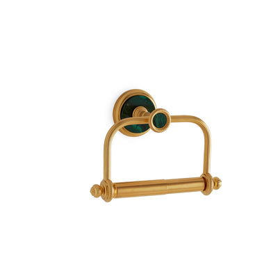 3535-MALA-GP Sherle Wagner International Knurled Paper Holder with Malachite insert in Gold Plate metal finish