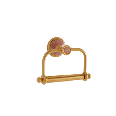3535-RSQU-GP Sherle Wagner International Knurled Paper Holder with Rose Quartz insert in Gold Plate metal finish