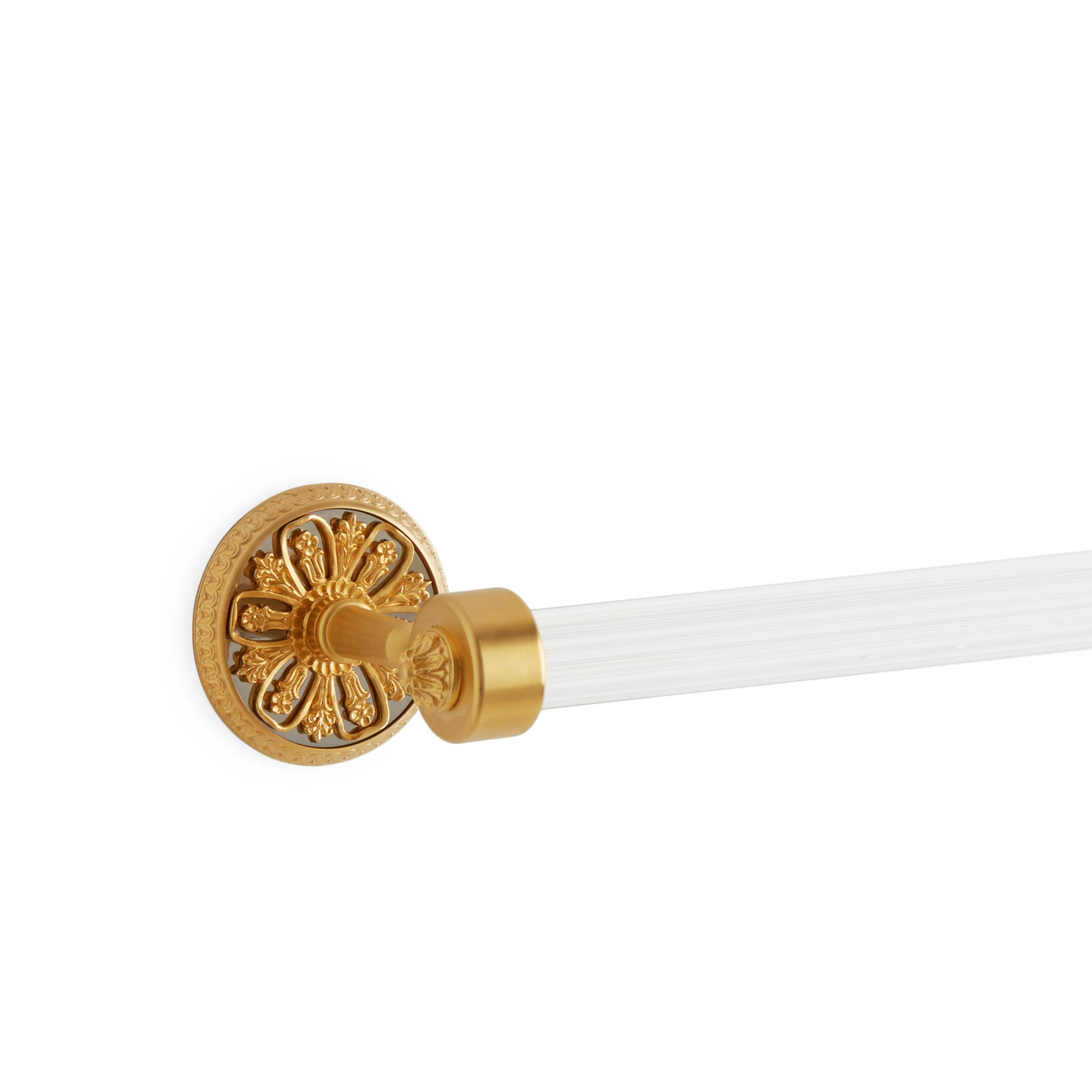 3663-18FL-GP/CP Sherle Wagner International Filigree Towel Bar in Gold Plate and Polished Chrome metal finish