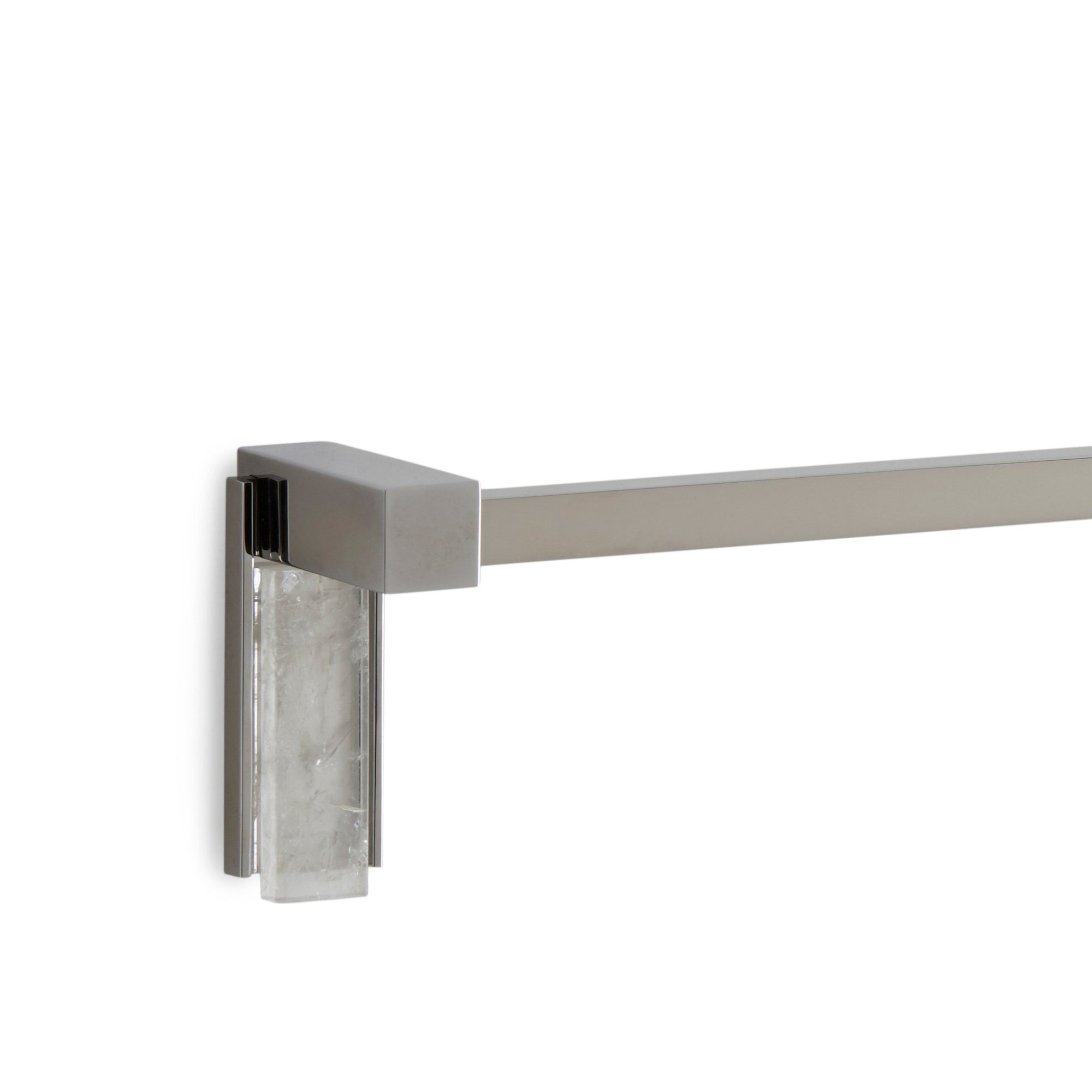 3678-RKCR-30SQ-CP Sherle Wagner International Apollo Towel Bar with Rock Crystal insert in Polished Chrome metal finish