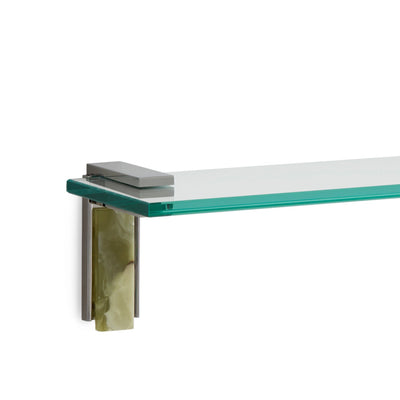 3678S-GROX-30-CP Sherle Wagner International Apollo Shelf with Green Onyx insert in Polished Chrome metal finish