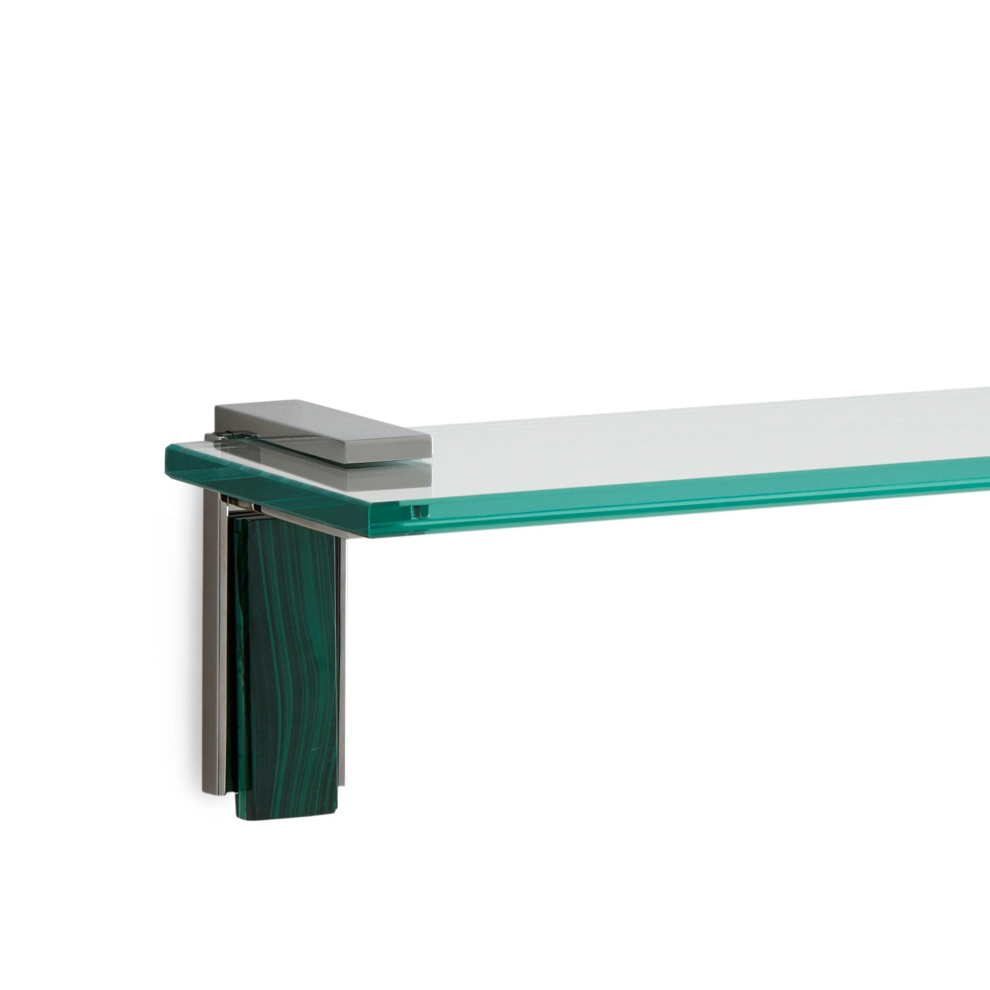 3678S-MALA-30-CP Sherle Wagner International Apollo Shelf with Malachite insert in Polished Chrome metal finish