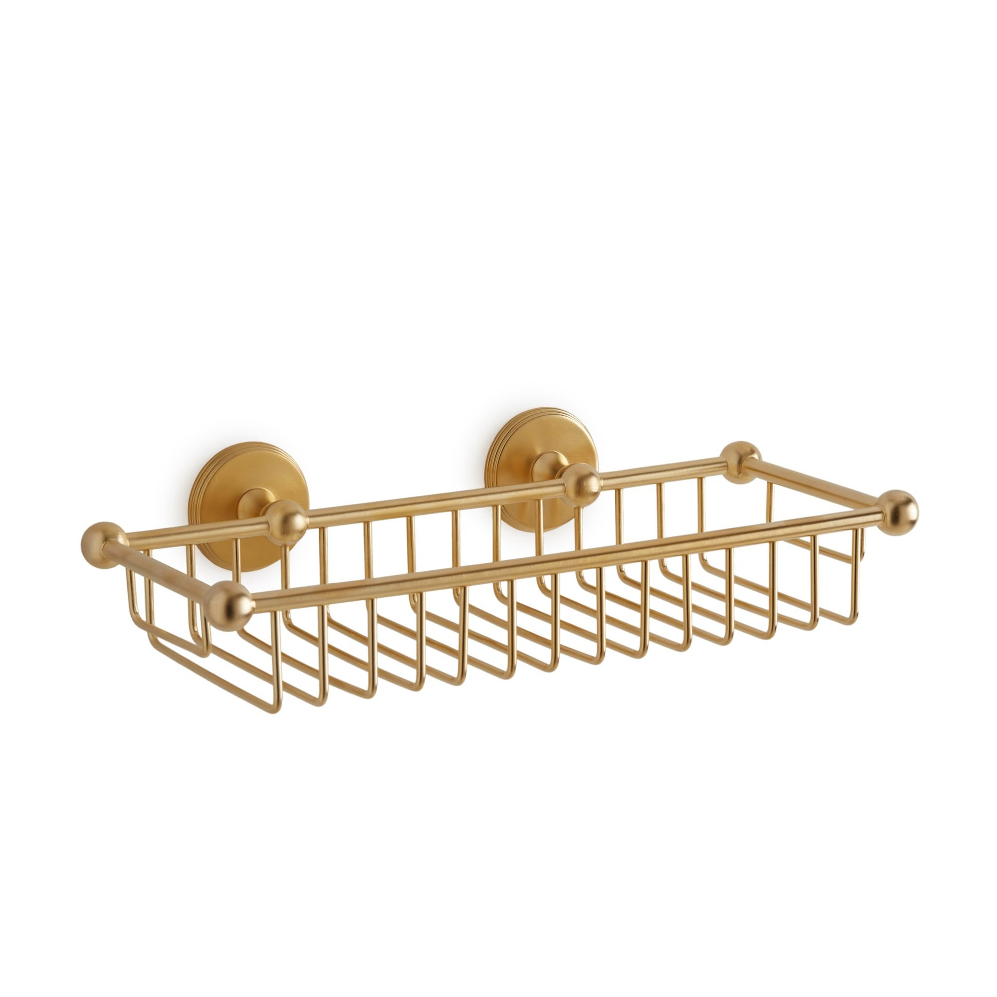 3801-GP Sherle Wagner International Shower Basket Rectangular in Gold Plate metal finish