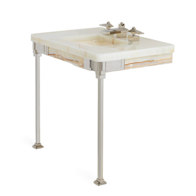 4210-HNOX Sherle Wagner International Honey Onyx Nouveau Counter with Carved Sink Side View