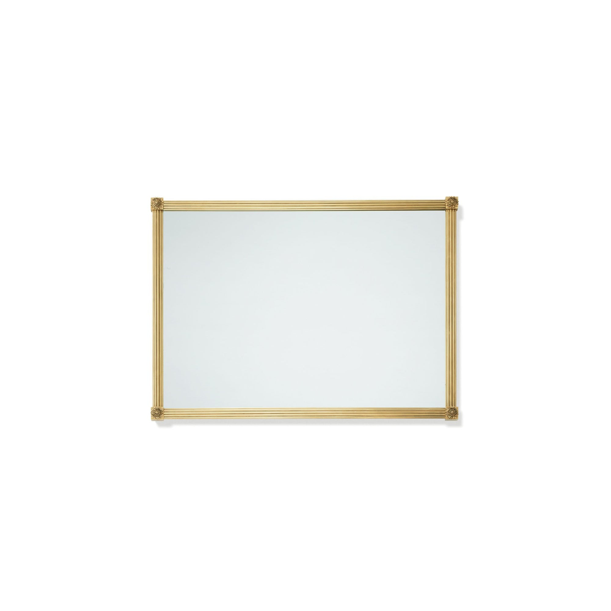4256M21-BG Sherle Wagner International Reeded with Rosette Mirror in Burnished Gold metal finish