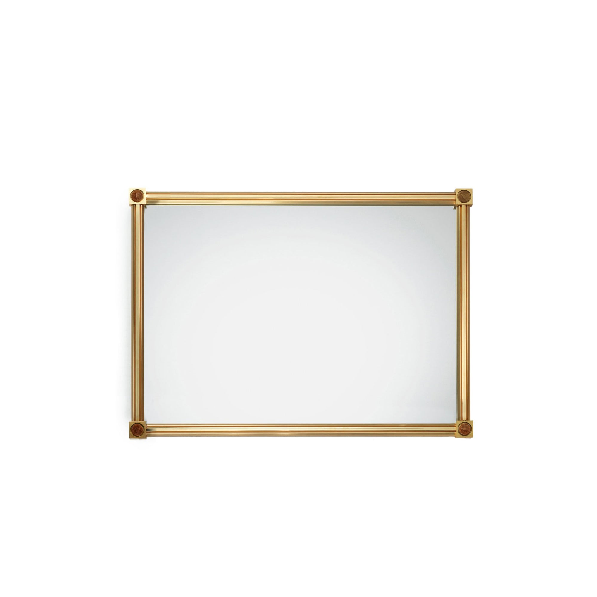 4269M21-BROX-GP Sherle Wagner International Modern Mirror with Brown Onyx insert in Gold Plate metal finish