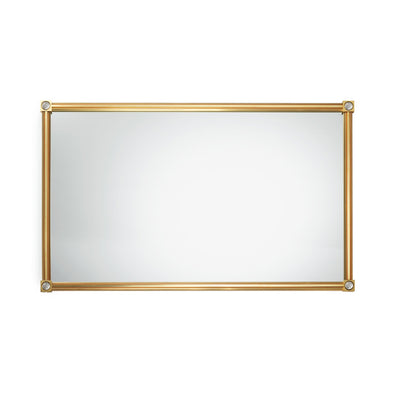4269M32-S-RKCR-GP Sherle Wagner International Modern Mirror with Rock Crystal Swirl insert in Gold Plate metal finish